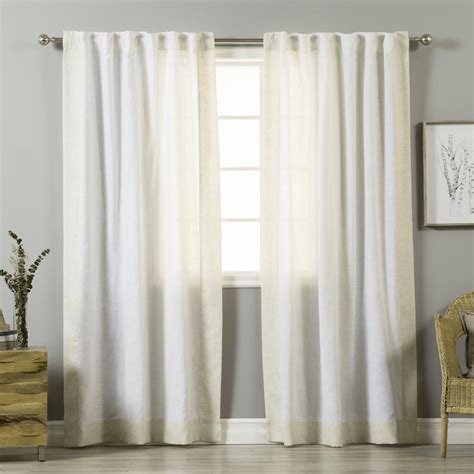 Bellagio Linen Drapes - best home fashion 84 in l white linen blend flaxbordered