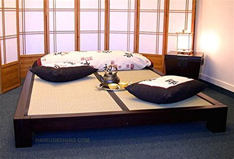 raku japanese style tatami platform bed  dark walnut
