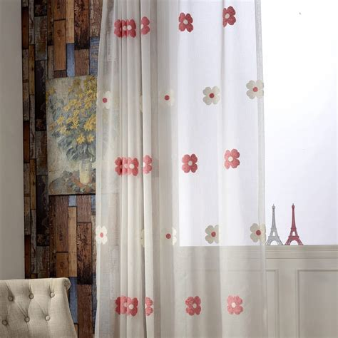 elegant white floral embroidery sheer curtains