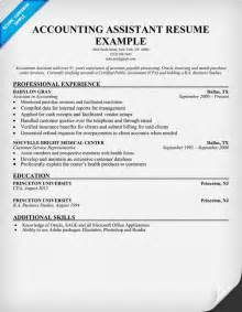resume of accountant assistant accounting assistant resume sle resume sles across all industries sle