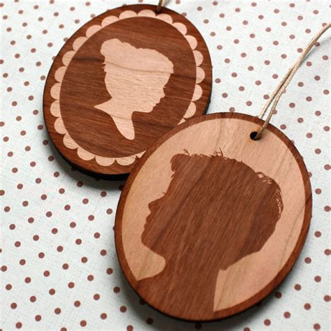 custom silhouette wood christmas ornament by simply
