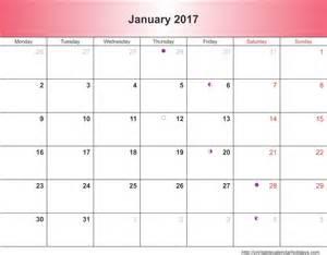 january 2017 calendar 6 templates landscape printable