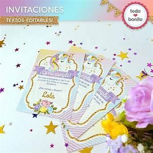 Unicornio: invitación para imprimir Todo Bonito
