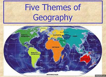 Geography Themes Five Map Continents Powerpoint Animated