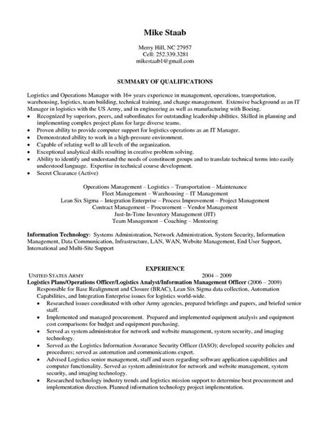 Sle Resumes For Customer Service by Logistics Coordinator Resume Sle 28 Images It Service