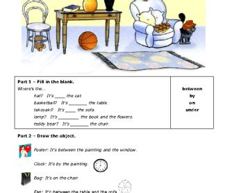prepositions  place writing  drawing