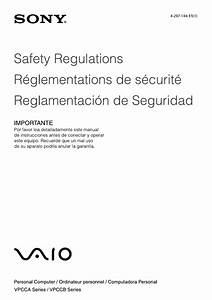 Sony Vpcca390x Safety  U0026 Regulations Guide