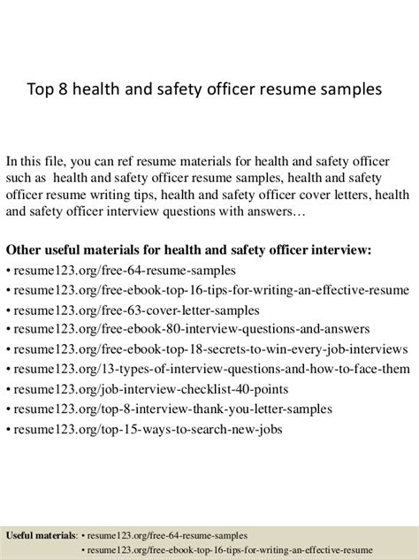 resume objective for safety officer top 8 health and safety officer resume sles