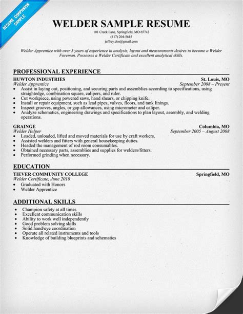 Welding Description Resume by Welder Resume Templates Memes