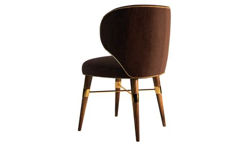 hamstead velvet upholstered walnut brass dining chair