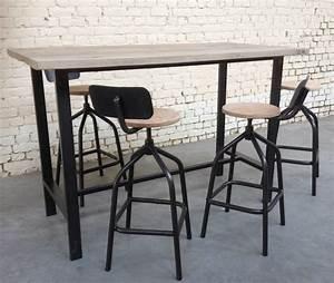 Table Mange Debout Style Industriel : mange debout sr 39 md003 giani desmet meubles indus bois m tal et cuir ~ Melissatoandfro.com Idées de Décoration
