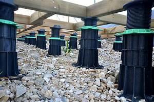 Pose Terrasse Bois Sur Gravier : plot terrasse bois lambourde jouplast solutions ~ Premium-room.com Idées de Décoration