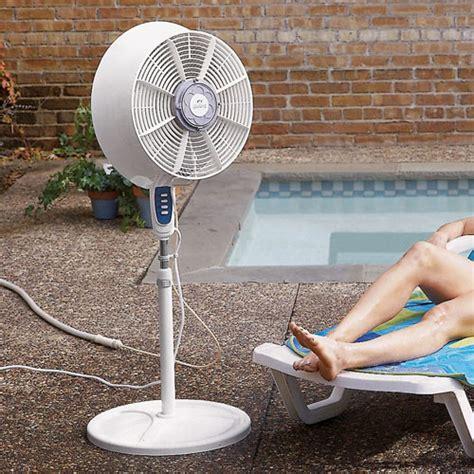 outdoor patio fans windchaser windchill cool mist outdoor fan the green