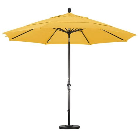 hton bay 11 ft offset led patio umbrella in tan