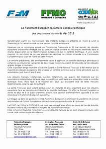 Controle Technique Europeen : le parlement europ en r clame le contr le technique des deux roues motoris s d s 2016 ~ Maxctalentgroup.com Avis de Voitures