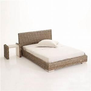 Lit 2 personnes osier for Cadre de lit en osier