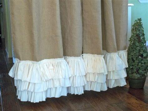 Ruffled Bottom Burlap Curtain Panel