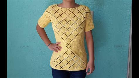 blusa primavera a crochet punto de rombos tejidos a ganchillo blusa dama de granny