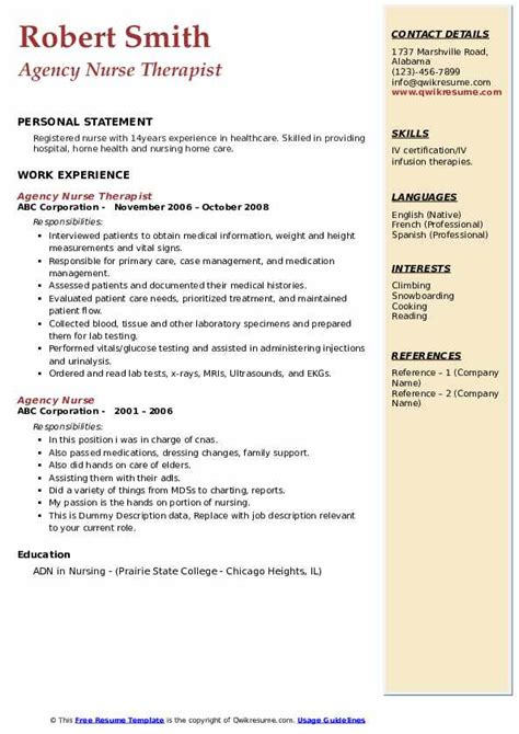 Find your new insurance consultant job to start making more money. Agency Nurse Resume Samples | QwikResume
