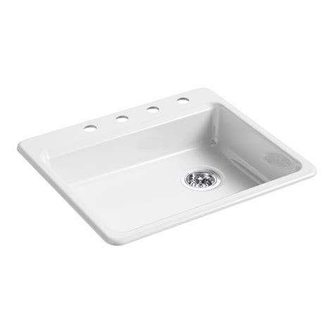 white single bowl drop in kitchen sink kohler riverby drop in cast iron 25 in 4 single 2220