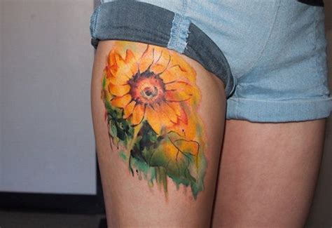 beautiful realistic sunflower tattoos