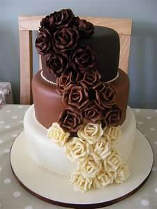 Cakes By Karen: Chocolate Rose Wedding Cake Three Tier