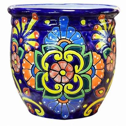 Talavera Pottery Ceramic Pot Round Ravenna Glazed