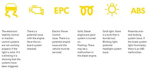 Car Warning Light Meanings by Volkswagen Check Engine Light And Other Warning Lights