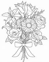 Coloring Flower Bouquet Valentine sketch template