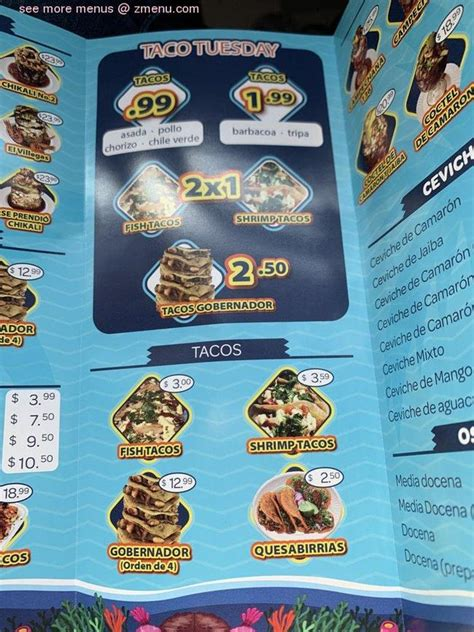 menu  mariscos  tacos el chikali restaurant