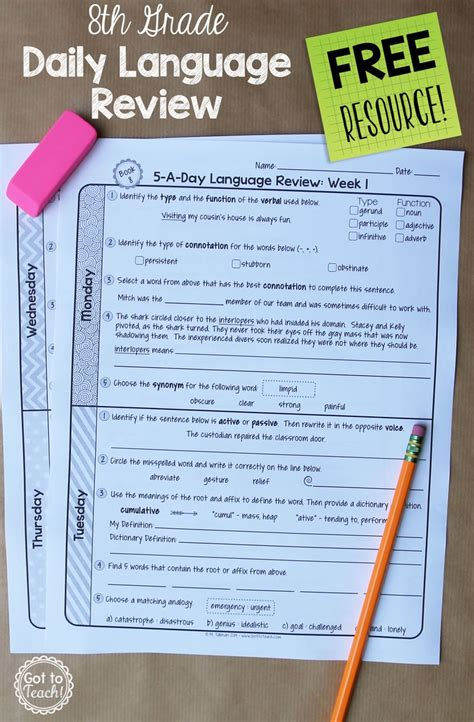 grade daily language spiral review  week
