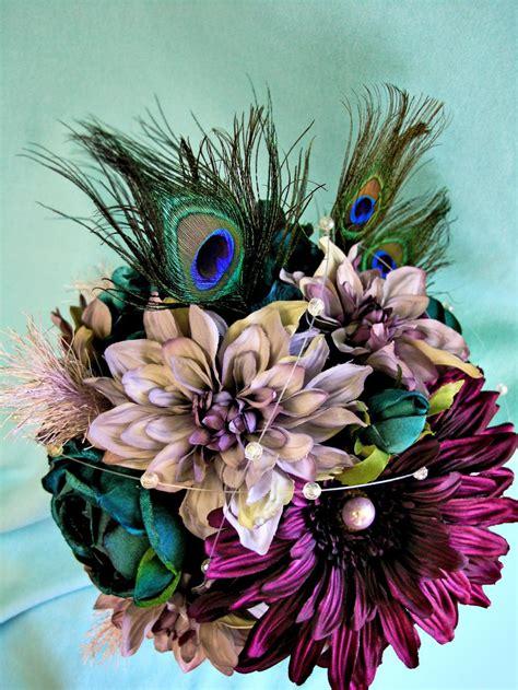 Peacock Wedding Flowers Purple Silk Bridal Bouquet Teal
