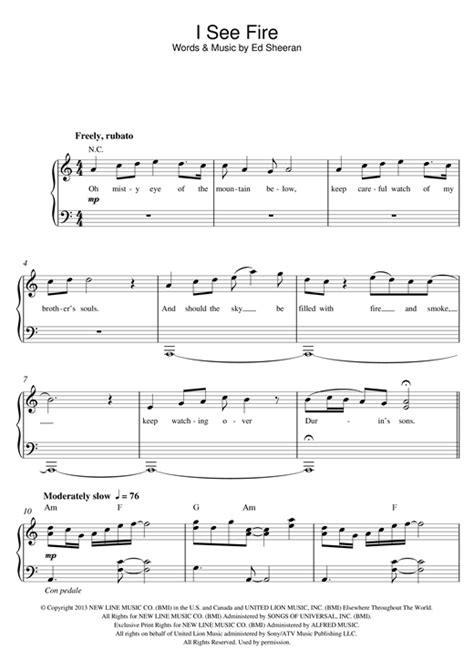 i see fire from the hobbit piano sheet music by ed