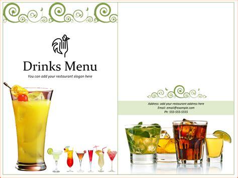 Drink Menu Templates Microsoft Word by 7 Drink Menu Template Bookletemplate Org