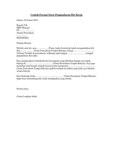 Surat Pengunduran Diri Yang Baik Dan Benar by 3 Contoh Surat Pengunduran Diri Kerja Surat Resign Yang