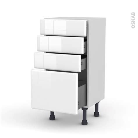 cuisine oskab meuble de cuisine bas iris blanc 4 tiroirs l40 x h70 x p37