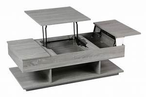 Table Cuisine Grise : table basse grise avec rangement le bois chez vous ~ Teatrodelosmanantiales.com Idées de Décoration