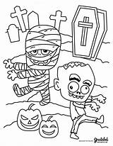 Coloring Halloween Zombie Kid Mummy Thanksgiving Monster Cemetery Printable Monsters Trick Treat Candy Bag sketch template