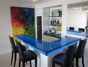 i would like ideas for a glass top for the bar in my game With best brand of paint for kitchen cabinets with led wall art lighting