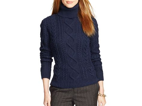 turtleneck knit sweater ralph cable knit turtleneck sweater in blue