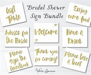 gold bridal shower signs 8x10 bridal shower decorations With wedding shower signs