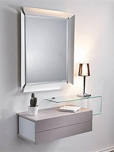 Due Mobile ingresso con 2 cassetti, specchio e mensola in vetro Sediarreda