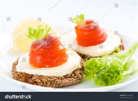 canape toast canapes with salmon fish rolls on toast stock photo