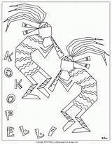 Coloring Kokopelli Pottery Printable Native American Hopi Indian Symbols Nm Popular Mac sketch template