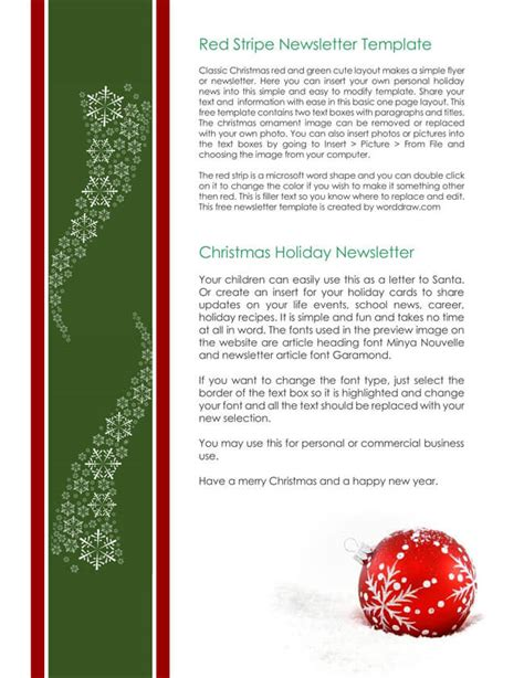 christmas newsletter templates  create printable