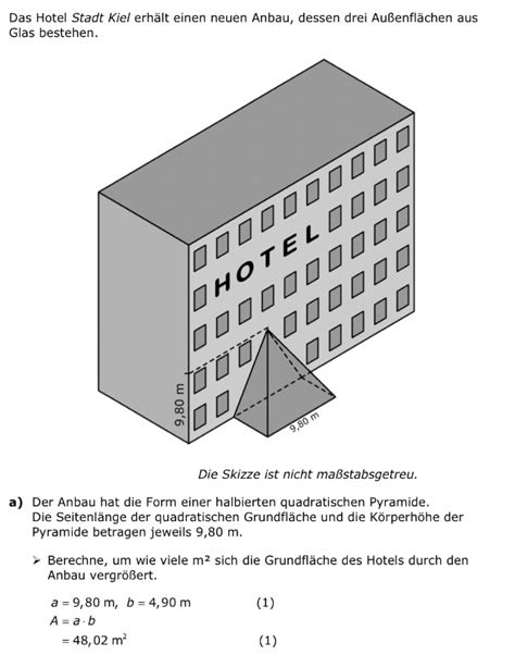 stereometrie pyramide rechteck anbau beim hotel stadt