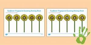 Sunflower Fingerprint Counting Activity Sheet Pack