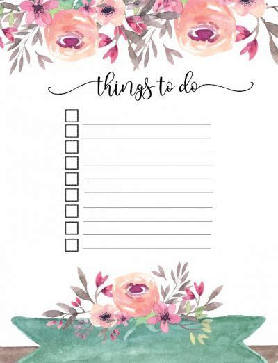 to do list template printable pinterest free printable floral things to do list planners