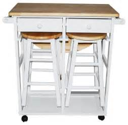 kitchen island with trash bin breakfast cart table with 2 stools white contemporary