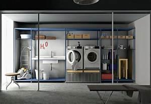 Meuble Rangement Buanderie : meuble machine laver pour un coin buanderie pratique ~ Melissatoandfro.com Idées de Décoration